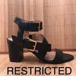 Restricted Leather Block Heel Sandal 9